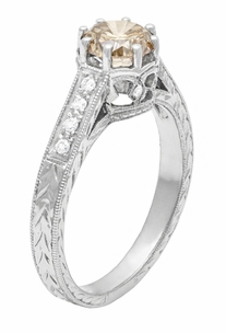 Vintage 1 Carat Champagne Diamond Engagement Ring in 18K White Gold - Art Deco Crown - EGL Certified - Item R460CD - Image 1