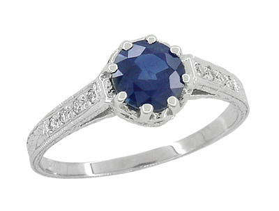 Art Deco Royal Crown 1 Carat Sapphire Engraved Engagement Ring in 18 Karat White Gold, Original 1920s Antique Sapphire Ring Design