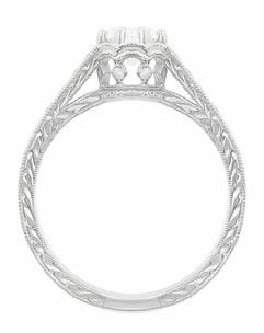Art Deco 3/4 Carat Antique Style Engraved Crown Engagement Ring in 18K White Gold - Item R460W75D - Image 3
