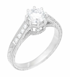 Art Deco 3/4 Carat Antique Style Engraved Crown Engagement Ring in 18K White Gold