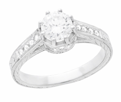 Art Deco 3/4 Carat Antique Style Engraved Crown Engagement Ring in 18K White Gold - Item R460W75D - Image 2