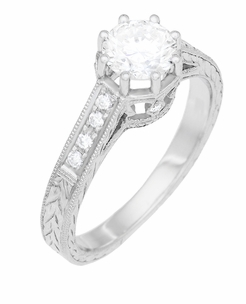 Art Deco 3/4 Carat Antique Style Engraved Crown Engagement Ring in 18K White Gold - Item R460W75D - Image 1