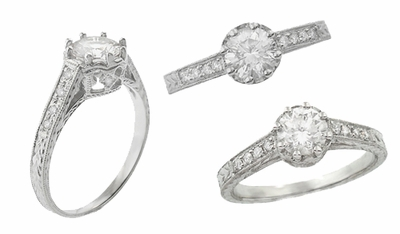 Royal Crown 3/4 Carat Engraved Art Deco Vintage Inspired Platinum Engagement Ring Setting | 6mm - Item R460P - Image 2