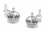 Royal Crown Cufflinks in Sterling Silver
