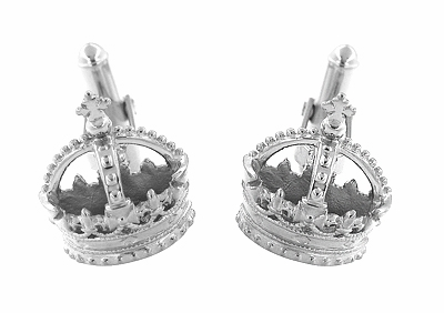Royal Crown Cufflinks in Sterling Silver - Item SCL241W - Image 1