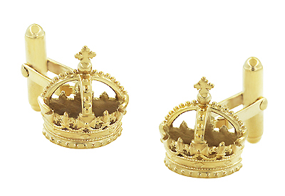 Royal Crown Cufflinks in Sterling Silver with Yellow Gold Vermeil