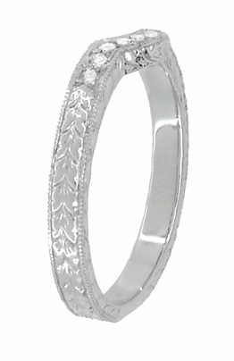 Royal Crown Curved Diamond Engraved Wedding Band in 18 Karat White Gold - Item WR460WD - Image 2