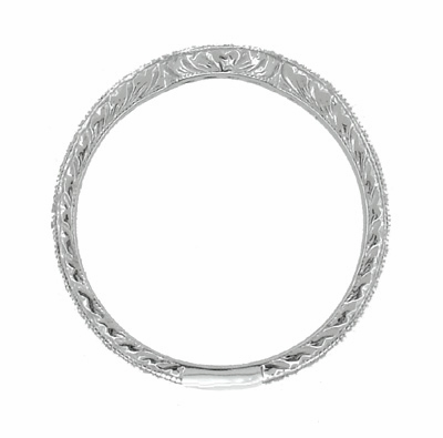 Royal Crown Curved Diamond Wedding Band in Platinum - Item WR460P1D - Image 4