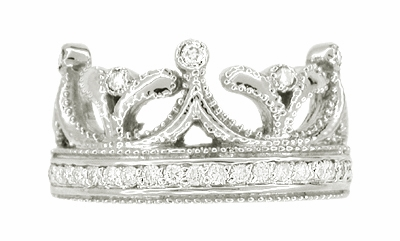 Royal Crown Ring in 18 Karat White Gold with Diamonds - Item R644 - Image 2