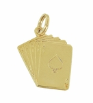 Royal Flush Card Charm in 14 Karat Yellow Gold