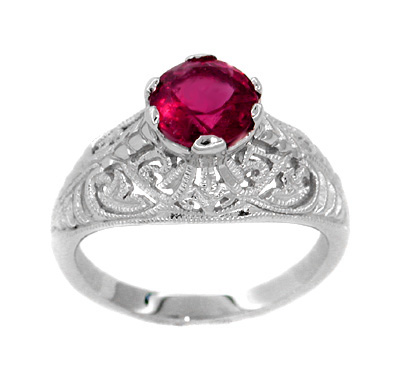 Rubellite Tourmaline Filigree Ring in 14 Karat White Gold
