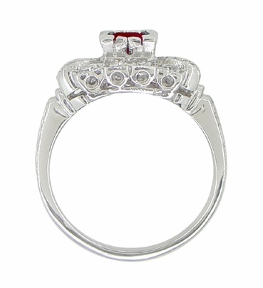 Ruby and Diamond Art Deco 18 Karat White Gold Engagement Ring - Item R880 - Image 3