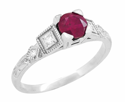Ruby and Diamond Art Deco Engagement Ring in 18 Karat White Gold - Item R207 - Image 1