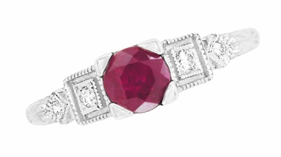 Ruby and Diamond Art Deco Engagement Ring in 18 Karat White Gold - Item R207 - Image 3