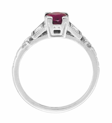 Ruby and Diamond Art Deco Engagement Ring in 18 Karat White Gold - Item R207 - Image 4
