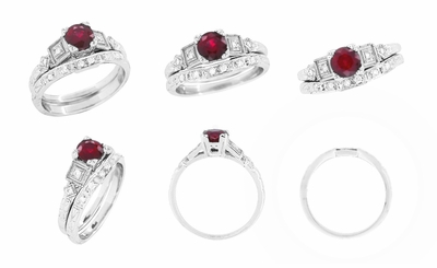 Ruby and Diamond Art Deco Engagement Ring in Platinum - Item R207P - Image 5