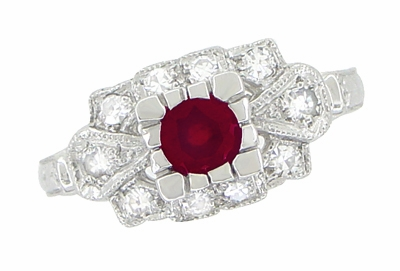 Ruby and Diamond Art Deco Platinum Engagement Ring - Item R880P - Image 1