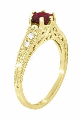 Ruby and Diamond Filigree Engagement Ring in 14 Karat Yellow Gold - Item R191Y - Image 2