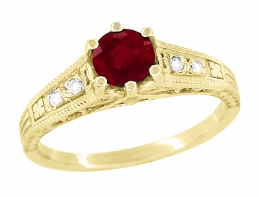 Ruby and Diamond Filigree Engagement Ring in 14 Karat Yellow Gold - Item R191Y - Image 3