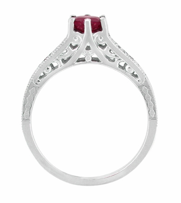Ruby and Diamond Filigree Engagement Ring in Platinum - Art Deco Vintage Ruby Engagement Ring Design - Item R191P - Image 3