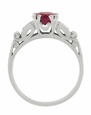 Ruby and Diamonds Art Deco Engagement Ring in 18 Karat White Gold - Item R699 - Image 1