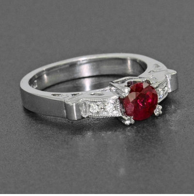 Ruby and Diamonds Art Deco Engagement Ring in 18 Karat White Gold - Item R699 - Image 4