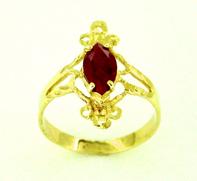 Ruby Marquise Ring in 14 Karat Gold