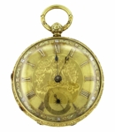 S.I. Tobias & Co., Liverpool Keywind Pocket Watch in 18 Karat Tri Color Gold
