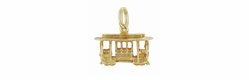 San Francisco Cable Car Charm in 14K Gold | Vintage Streetcar Trolley Car Pendant