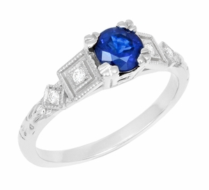 1920's Sapphire and Diamond Art Deco Engagement Ring in Platinum - Item R194P - Image 1