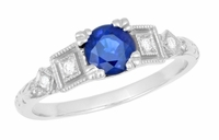 1920's Sapphire and Diamond Art Deco Engagement Ring in Platinum