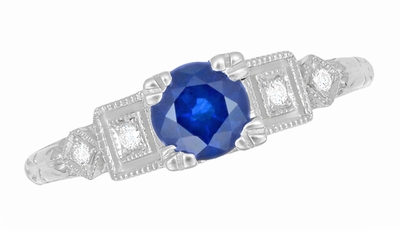 1920's Sapphire and Diamond Art Deco Engagement Ring in Platinum - Item R194P - Image 3