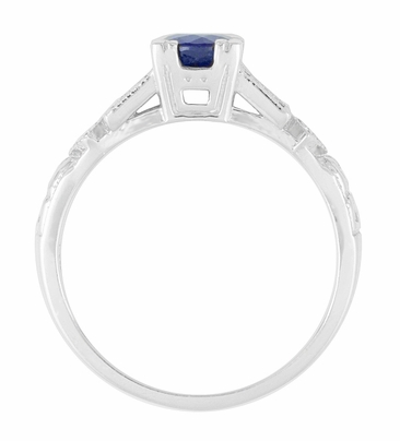 1920's Sapphire and Diamond Art Deco Engagement Ring in Platinum - Item R194P - Image 4