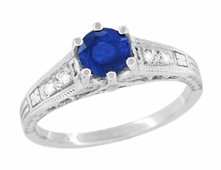 Sapphire and Diamond Filigree Art Deco Engagement Ring in Platinum