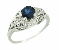Sapphire and Diamond Filigree Ring in 14 Karat White Gold