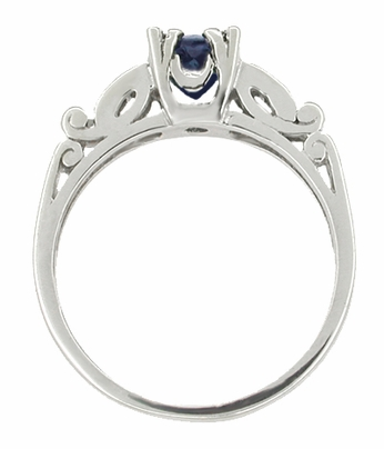 Sapphire and Diamonds Scroll Art Deco Engagement Ring in Platinum - Item R256P - Image 1