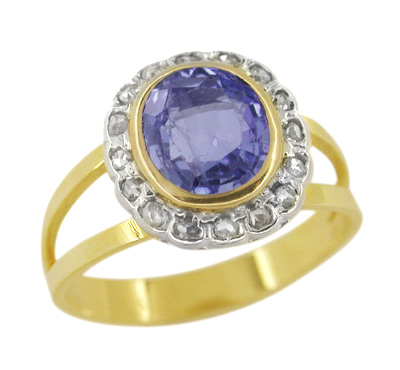 Sapphire and Rose Cut Diamond Estate Ring in 14 Karat Gold
