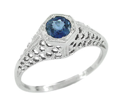 Sapphire Filigree Ring in 14 Karat White Gold