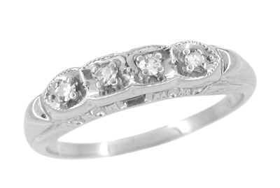 Scalloped Diamond Antique Wedding Band in 14 Karat White Gold