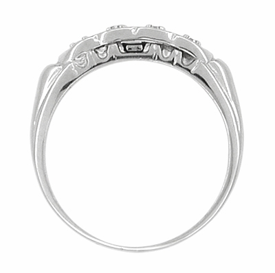 Scalloped Diamond Antique Wedding Band in 14 Karat White Gold - Item R604 - Image 1