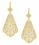 Scalloped Leaf Dangling Sterling Silver Filigree Edwardian Earrings with Yellow Gold Vermeil