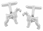 Schnauzer Cufflinks in Sterling Silver