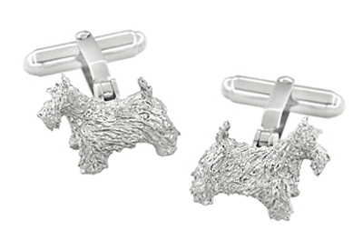Scottie Dog Cufflinks in Sterling Silver - Scottish Terrier Cufflinks