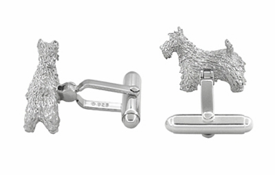 Scottie Dog Cufflinks in Sterling Silver - Scottish Terrier Cufflinks - Item SCL246W - Image 1