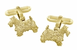 Scottie Dog Cufflinks in Sterling Silver with Yellow Gold Finish - Scottish Terrier Cufflinks