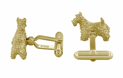 Scottie Dog Cufflinks in Sterling Silver with Yellow Gold Finish - Scottish Terrier Cufflinks  - Item SCL246Y - Image 1