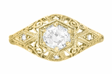 Scroll Dome Filigree Edwardian Diamond Engagement Ring 14K Yellow Gold | Antique Design - Item R139YD - Image 1