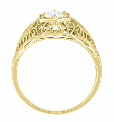Scroll Dome Filigree Edwardian Diamond Engagement Ring 14K Yellow Gold | Antique Design - Item R139YD - Image 3