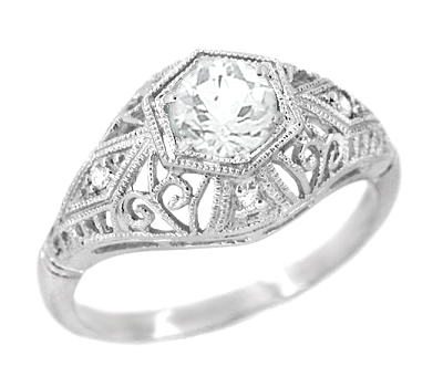 Scroll Dome Filigree Edwardian Diamond Engagement Ring in Platinum