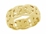 Scrolls and Pansy Flowers Mid Century Filigree Wedding Ring in 14 Karat Yellow Gold